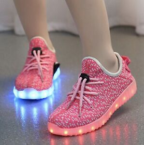 LED RGB Light Up Boys Girls Luminous Sneakers Kids Children Casual Shoes