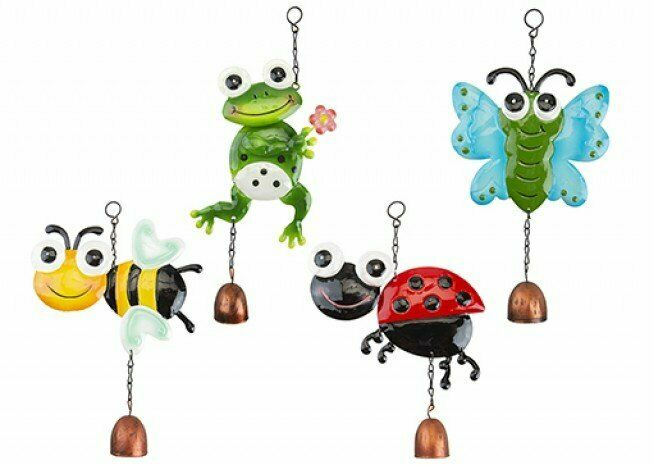 Hanging Metal Animal Garden Windchime with Bell Outdoor Choice of 4 Animals Home