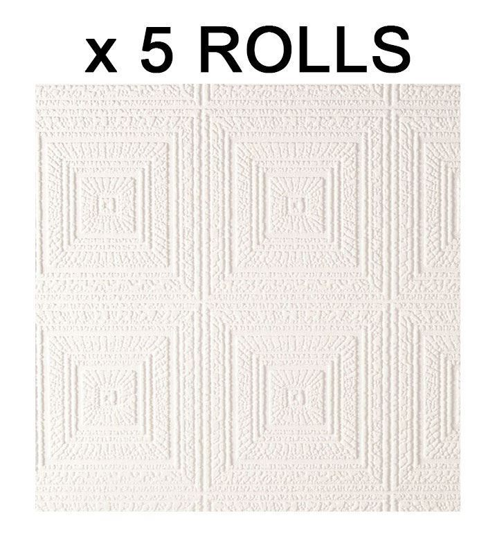 White Paintable Squares Wallpaper Expanded Textured Vinyl Luxury AS Creation x 5