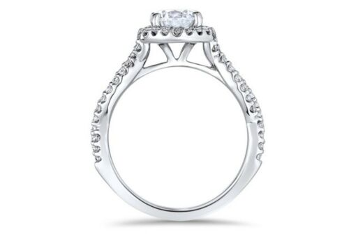 Real 14KT Solid White Gold 2.58ct Round Brilliant Halo Diamond Engagement Ring