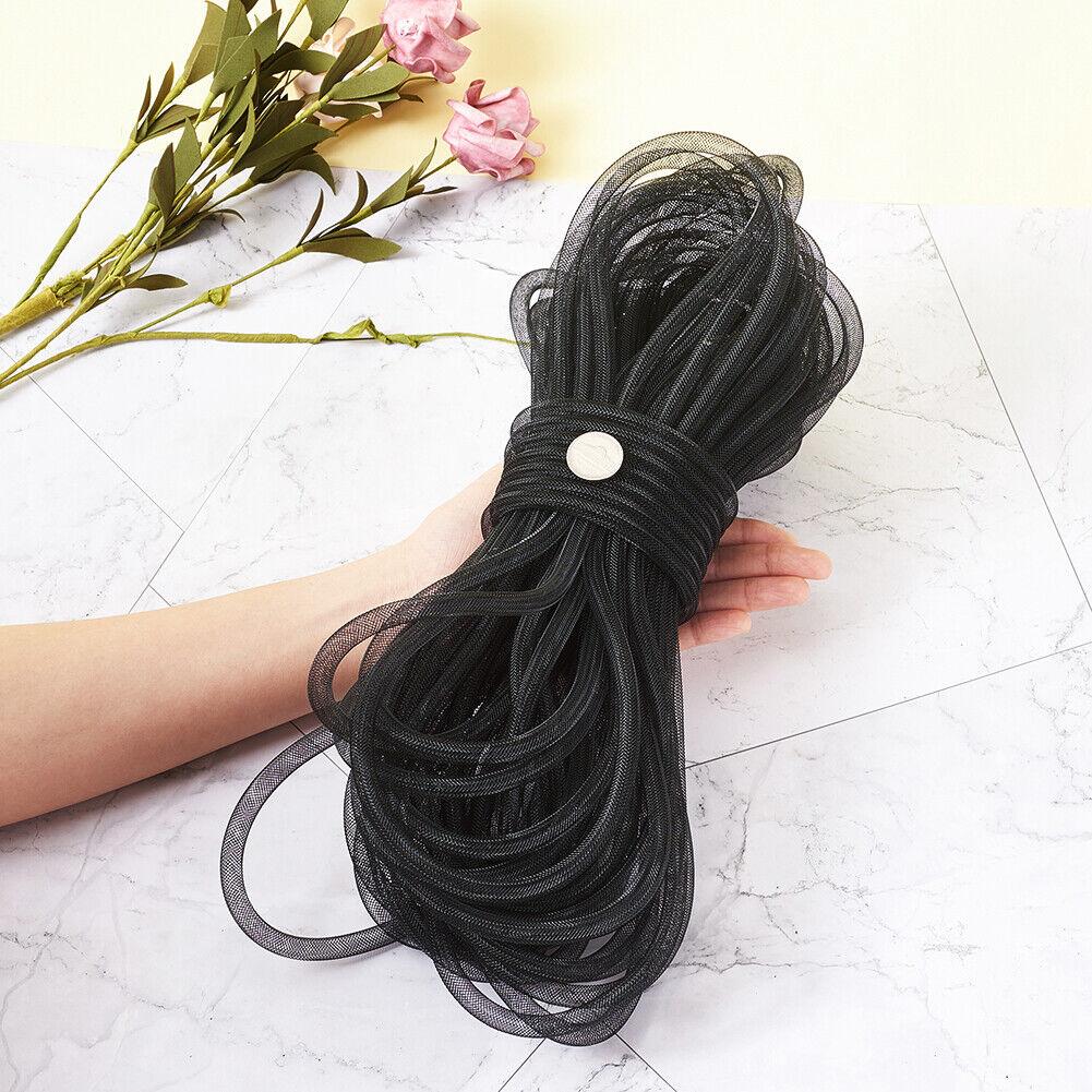 Black Mesh Tubing Cords Flexible Tube Party Ribbon Net Threads Wreath 4~20mm DIA
