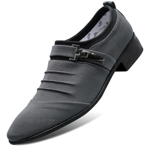 Men Formal Stage Dress Shoes Casual Oxfords Loafers Slip On Pointed Toe Buckle