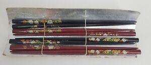 Vintage-Gift-Set-of-4-Lacquered-Wooden-Chopsticks-Made-Japan-Original-Red-Black