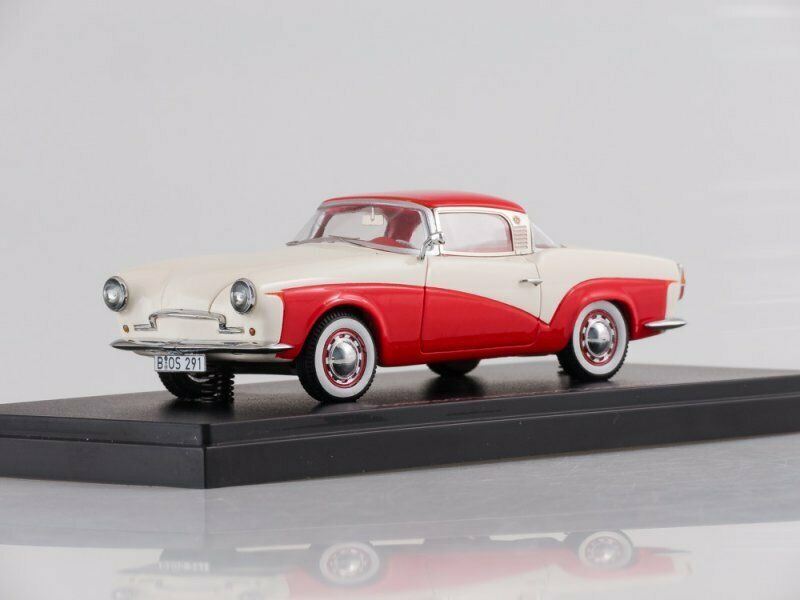 Scale model car 1 43 Rometsch Lawrence Coupe, red white, 1957