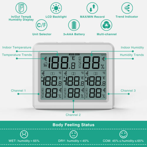 Digital/_LCD Indoor Thermometer Hygrometer Room Temperature Humidity 1//3 Sensor