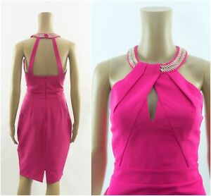 Lipsy-VIP-Embellished-Halterneck-Pink-Bodycond-Dress-RRP-85