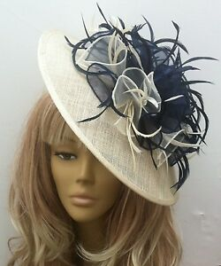 Image is loading New-Bespoke-Handmade-Cream-Navy-Hat-Fascinator-Mother- fa6303c5a92