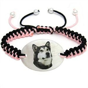 Alaskan Malamute Heart Dangle Mother Of Pearl European Bracelet Charm Bead EBS79