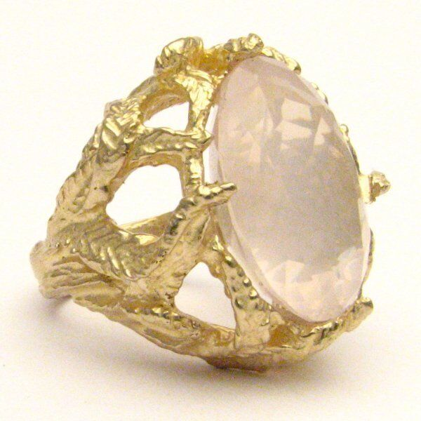 Handmade 14kt gold pink Quartz Claw Ring 18x13mm 12+ct 11 Grams of gold