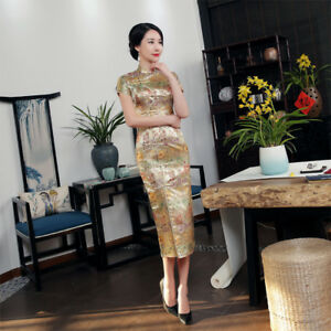 Sexy-Womens-gorgeous-brocade-cheongsam-Vintage-Chinese-Wedding-dress-long-Qipao