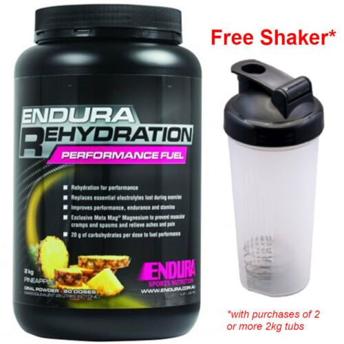 FREE SHAKER ENDURA REHYDRATION PERFORMANCE FUEL 2KG PINEAPPLE FLAVOUR