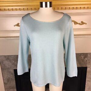New-EILEEN-FISHER-M-Light-Blue-Long-Sleeve-Nylon-Cotton-Knit-Sweater-Top