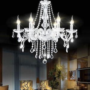Elegant crystal chandelier modern 6 ceiling light lamp pendant image is loading elegant crystal chandelier modern 6 ceiling light lamp aloadofball Image collections