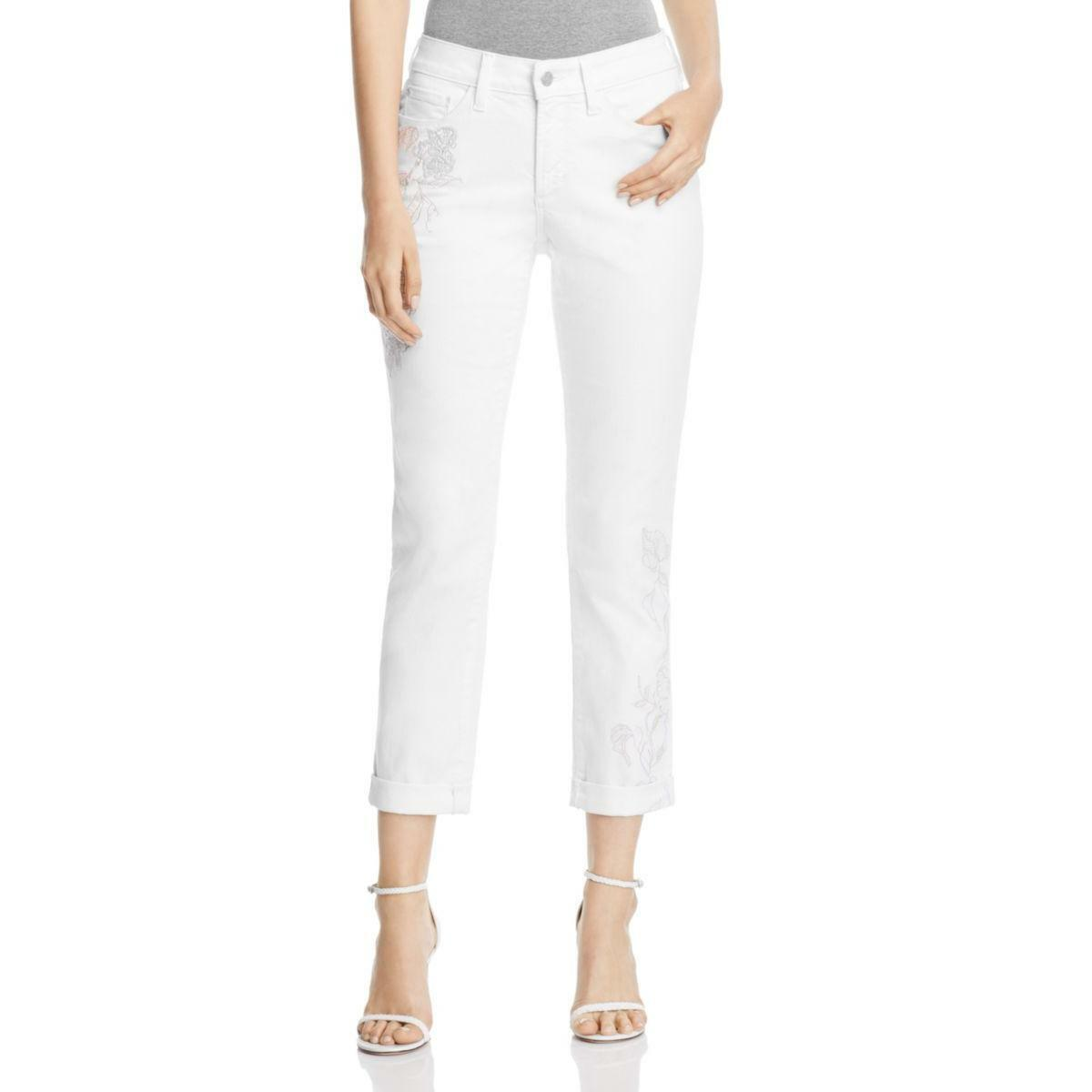 NYDJ Womens Jessica White Everyday Casual Boyfriend Jeans Petites 14P BHFO 5496