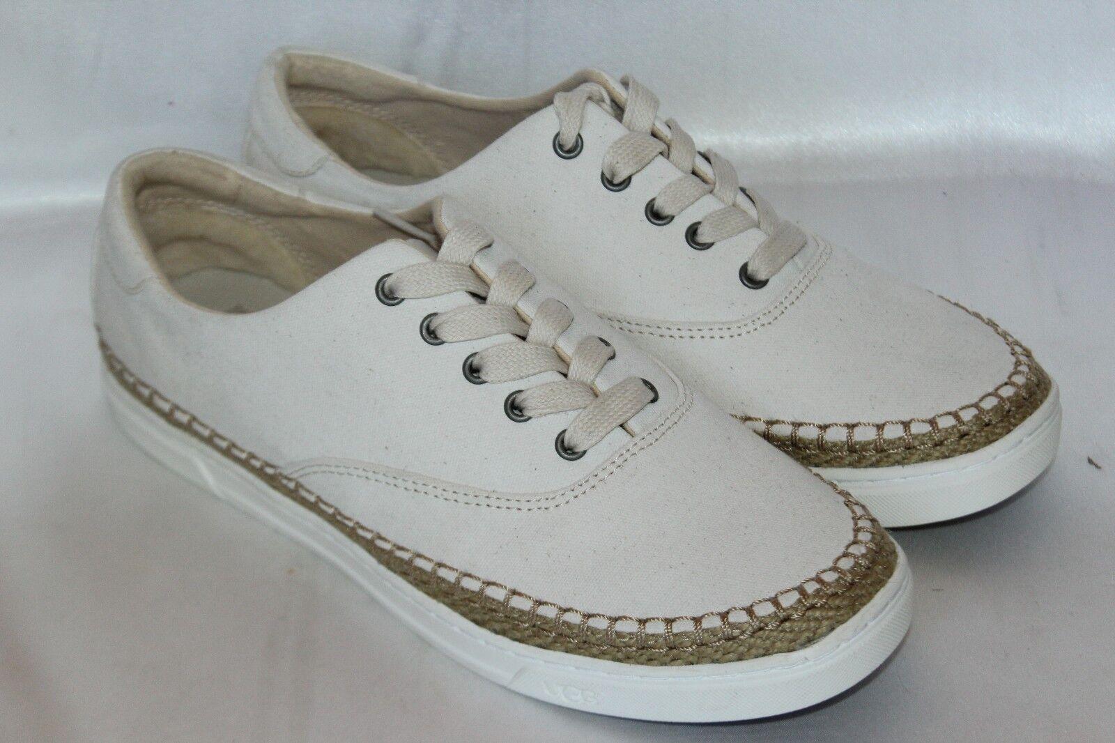 NEU!FEDER!UGG AUSTRALIA Weißes Segeltuch zum Schnüren EYAN II Sneakers Bootsschuhe Gr