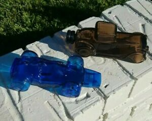 Vintage-BLUE-GLASS-AVON-RACING-AND-BROWN-ROADSTER-CARS-EMPTY-COLOGNE-BOTTLES