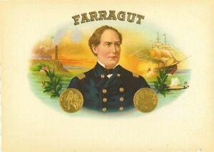 Farragut Naval États-unis Guerre Civile Original Cigare Boîte Label OHLtaLMy-09090101-214950104
