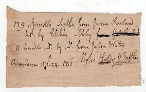 1810 Rhode Island Document Moses Eddy Colby Brothers Ri LhNhiWV4-09152858-940224141