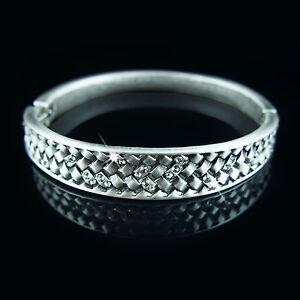 Silver-filigree-antique-style-bangle-bracelet-with-Swarovski-crystals-elements