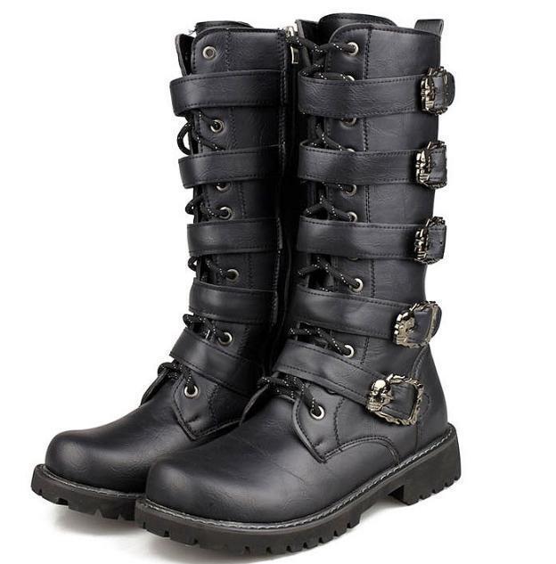 Herrenschuhe Stiefel Stiefel Lederstiefel Punk Schnallen schwarz Gr.37-45