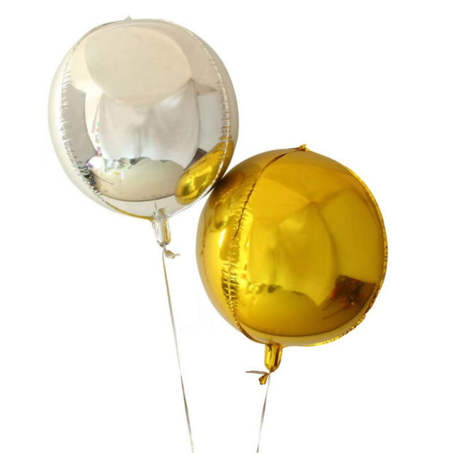 1pc 22inch Gold/Silver 4D Round Sphere Shaped Aluminum foil Balloon party*E9C