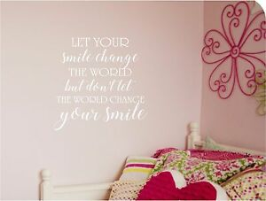 Let Your Smile Change The World Wall Lettering Vinyl Decal Lettering