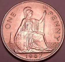 Huge Gem Unc Great Britain 1967 Penny~Excellent Coin~Free Shipping