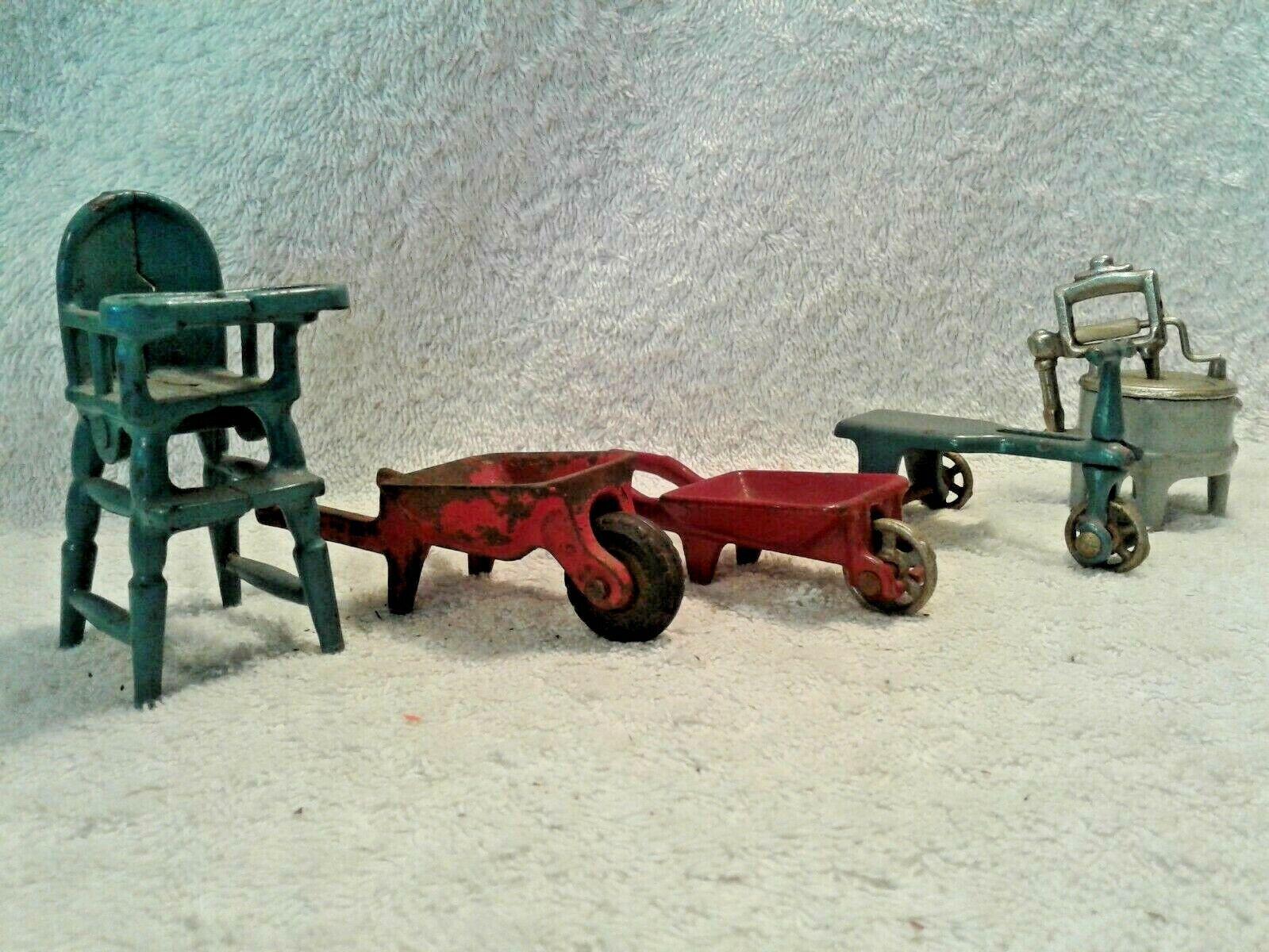 Lot of 5 Arcade and Kilgore Cast Iron Dollhouse Toys High Chair Wheel Barrows