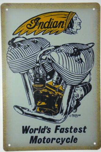 "Indian Worlds Fastest Motorcycle America Garage Retro Metal Tin Sign 8x12/"" NEW"