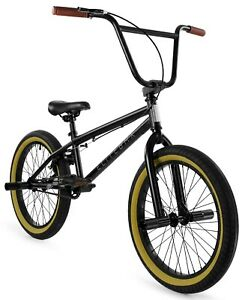 "Elite 20"" BMX Stealth Bicycle Freestyle Bike 1 Piece Crank Black Gum NEW 2021"