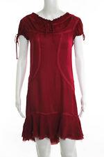 Philosophy di Alberta Ferretti Red Silk Tie Neck Short Sleeve Shift Dress Size 6