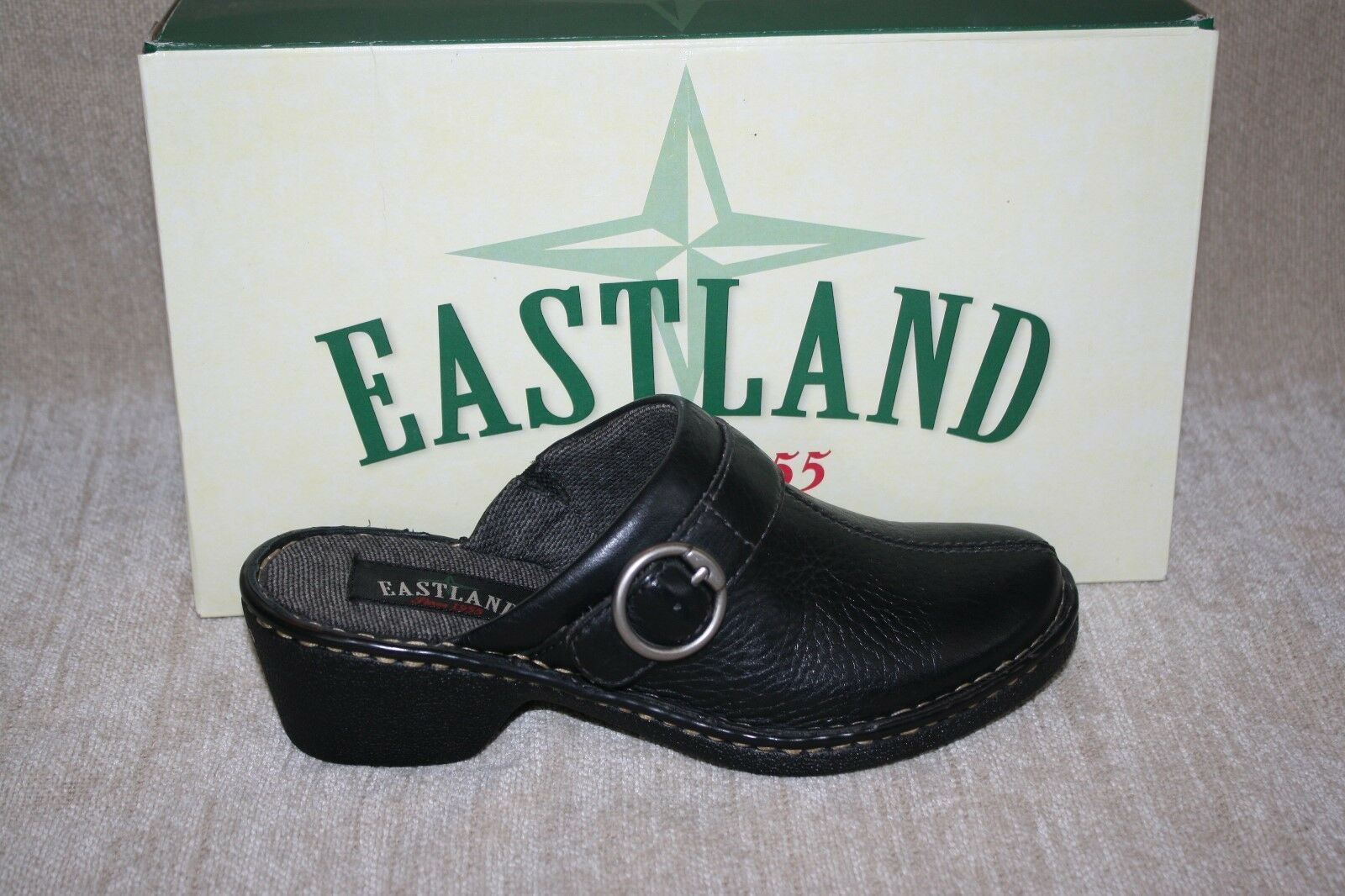 Damenschuhe EASTLAND BLACK ROMA MULES-SEE SIZES (B145)