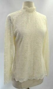 Nieuw Creme Blouse Stretch M Victoriaans Shirt Camuto Boho Vince Top Kant Maat Chic Yyf67bgv