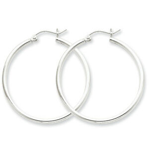 925-Sterling-Silver-Rhodium-Plated-2-5mm-x-35mm-Round-Polished-Hoop-Earrings