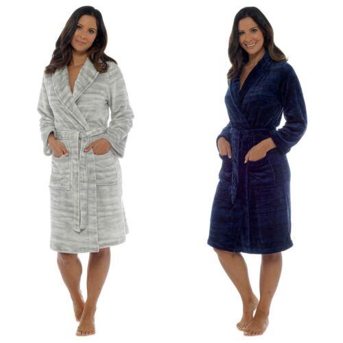 Ladies Marle Soft Touch Fleece Shawl Collar Bath Robe//Dressing Gown UK 8-22