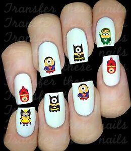 MINIONS-SUPERHEROES-30-Autocollant-Stickers-ongles-nail-art-manucure-water-decal