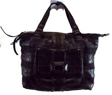 L.A.M.B. Women's Satchel Bag Handbag Purse Black Canvas Leather Large