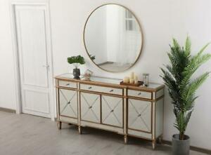Details about MIRRORED CABINET BUFFET SIDEBOARD GOLD LIVING DINING ROOM 4  DOORS 3 DRAWERS 72\