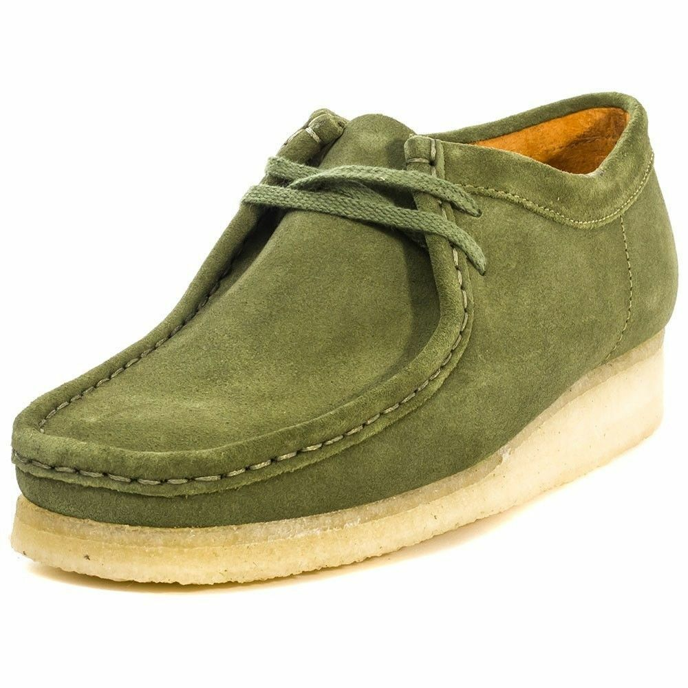Clarks Originals Wallabee Low Men's Leaf Green Suede Casual Oxfords 26114504