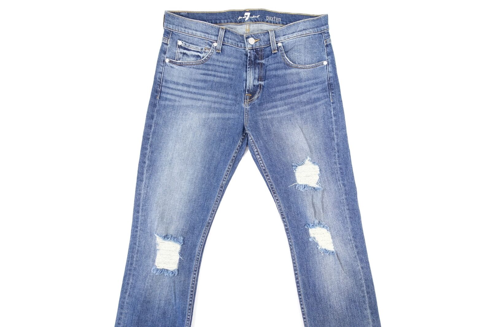 7 FOR ALL MANKIND DISTRESSED RIPPED CUT KNEE FADED blueE 34 PAXTYN SLIM JEANS NEW