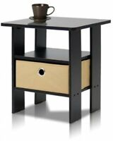 Bedroom End Table Night Stand W/bin Drawer,furniture Dorm Apt Espresso/brown on sale