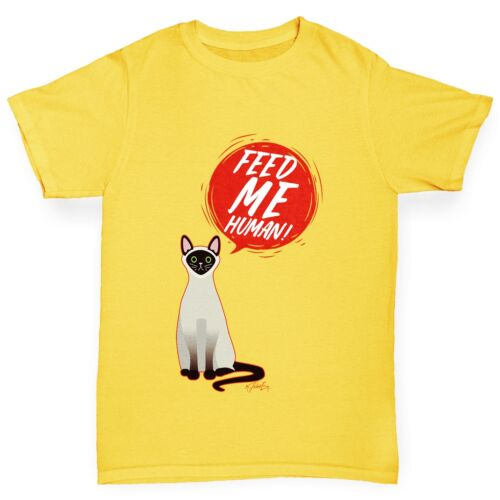 Twisted Envy Feed Me Cat Boy/'s Funny T-Shirt