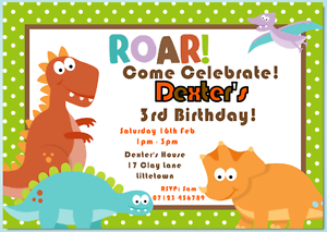 Image Is Loading PERSONALISED CHILDRENS DINOSAUR PARTY INVITATIONS WITH ENVELOPES