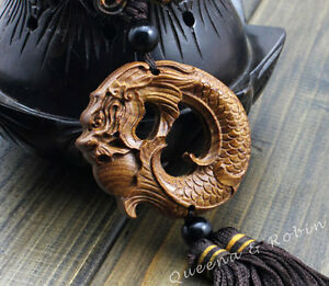 Wood-Carved-Chinese-Dragon-Carp-Statue-Car-Pendant-Amulet-Sculpture-Wooden-Craft