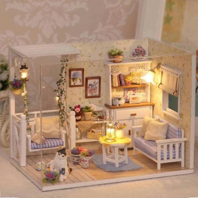 Doll House Furniture Kids DIY Miniature Dust Cover 3D Paper Dollhouse Toys  LAD