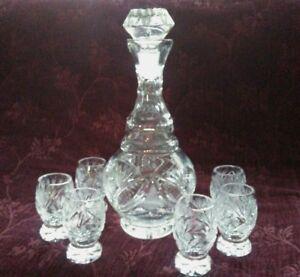 Bohemian-Czech-Crystal-Liquor-Decanter-amp-Goblet-Set
