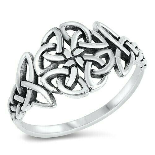 Celtic Ring Genuine Solid Sterling Silver 925 Oxidized Face Height 12 mm Size 8