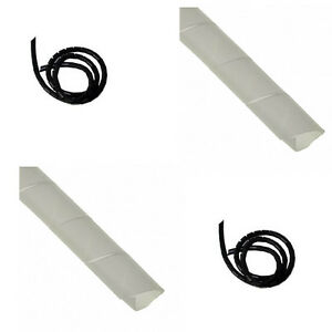 22mm-Diameter-Spiral-Binding-White-Black-Cable-Tidy-Wrap-0-5-25m-Lead-Protector
