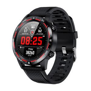 L12-Waterproof-Smart-Watch-ECG-PPG-Blood-Pressure-Heart-Rate-Wristband-Black-Red