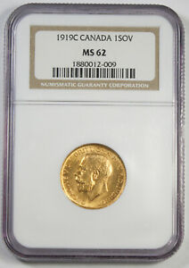Canada 1919 C Full Sovereign Sov Gold Coin NGC MS62 UNC/BU KM #20 George V